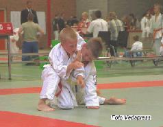 Stampvolle tribune bij judo