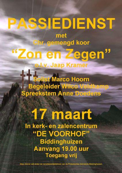 17 maart: Passiedienst met Zon en Zegen