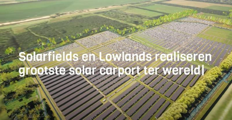 Bouw solar carport op parkeerterrein Lowlands gestart